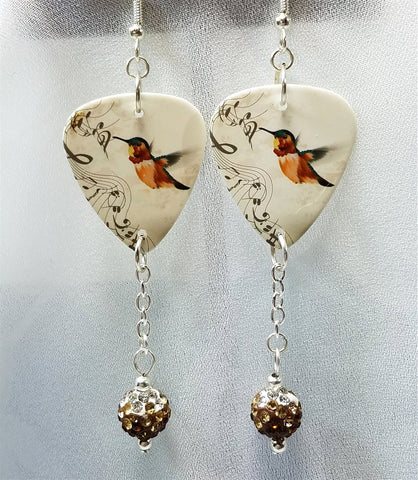 Musical Hummingbird Guitar Pick Earrings with Ombre Pave Bead Dangles
