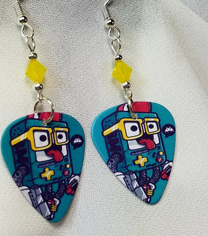 Gameboy Nerd Guitar Pick Earrings with Yellow Opal Swarovski Crystals