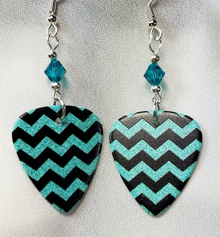 Turquoise and Black Chevron Guitar Pick Earrings with Turquoise Swarovski Crystals