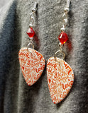 The Language of Love Guitar Pick Earrings with Red Swarovski Crystals
