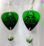 Toxic Guitar Pick Earrings with Green Ombre Pave Beads