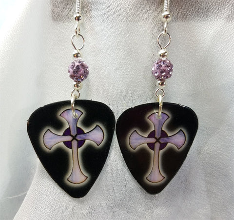 Black with Purple Crosses Guitar Pick Earrings with Purple Pave Beads