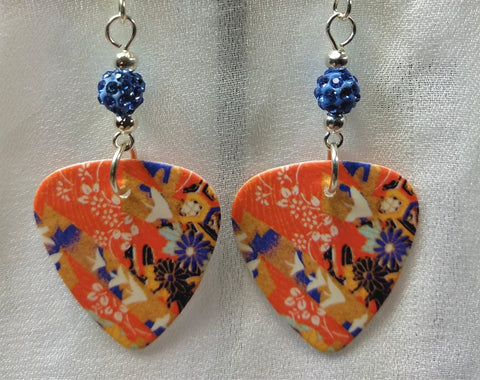 Origami Paper Patterned Guitar Pick Earrings with Blue Pave Beads