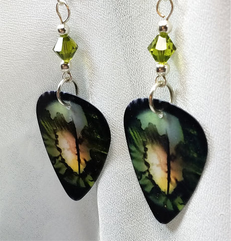 Reptilian Eye Guitar Pick Earrings with Green Swarovski Crystals