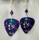 Gangster Panda Guitar Pick Earrings with Purple Crystals