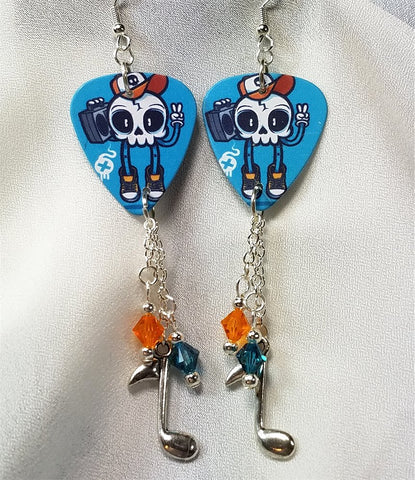 Rockin' Skull with Boombox Guitar Pick Earrings with Swarovski Crystal and Charm Dangles