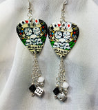 Gambling Themed Guitar Pick Earrings with Swarovski Crystal and Dice Dangles
