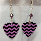 Purple and Black Chevron Guitar Pick Earrings with Amethyst Swarovski Crystals