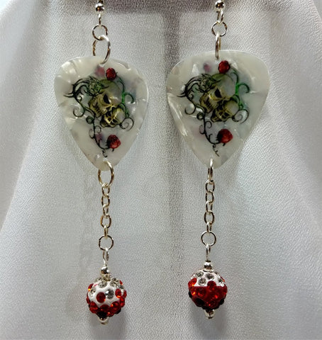 Skulls and Roses Guitar Picks with Red Ombre Pave Bead Dangles