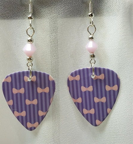 Purple Stripes and Pink Bows Guitar Pick Earrings with Pink Alabaster Swarovski Crystals