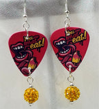 You Are What You Eat Guitar Pick Earrings with Orange Pave Dangles