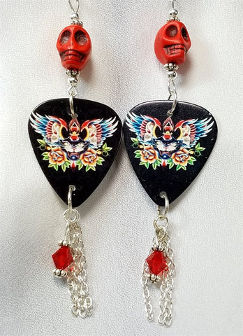 Winged Black Cat Guitar Pick Earrings with Swarovski Crystal and Chain Dangles