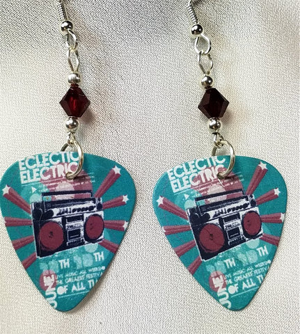 Eclectic Electric Boom Box Guitar Pick Earrings with Red Swarovski Crystals