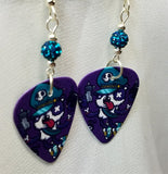 Gangster Panda Guitar Pick Earrings with Teal Pave Beads