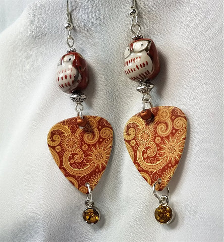 Owl Glass Bead Guitar Pick Earrings with Crystal Charm Dangles