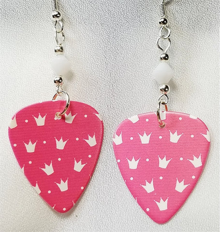 Pink with White Crown Pattern Guitar Pick Earrings with White Swarovski Crystals
