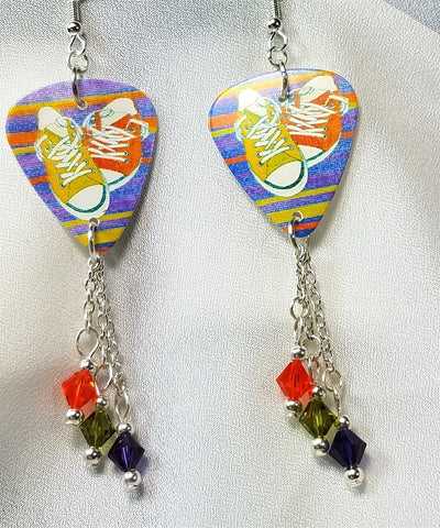 Sneakers on a Striped Background Guitar Pick Earrings with Swarovski Crystal Dangles