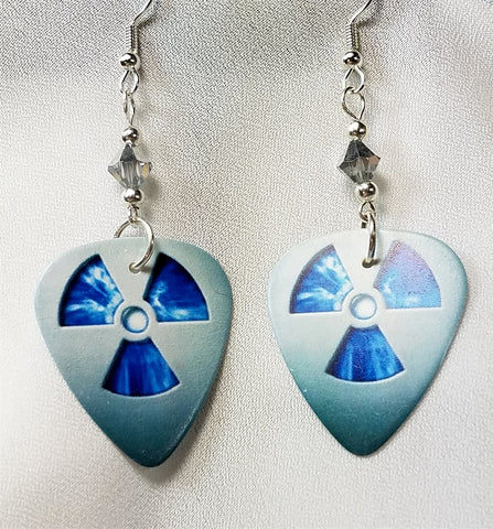 Nuclear Symbol Guitar Pick Earrings with Silver Swarovski Crystals