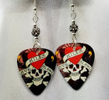 Love Kills Slowly Skull and Heart Guitar Pick Earrings with Pave Beads