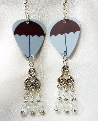 Umbrella Guitar Pick Earrings with Clear Swarovski Crystal Dangles