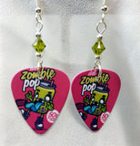 Zombie Pop Guitar Pick Earrings with Green Swarovski Crystals
