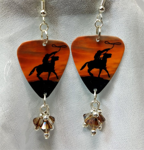 Cowboy on a Horse Guitar Pick Earrings with Swarovski Crystal Dangles