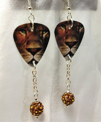 Lion Guitar Pick Earrings with Brown Pave Bead Dangles