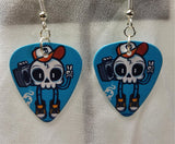 Rockin' Skull with Boombox Guitar Pick Earrings