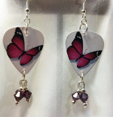 Purple Butterfly Guitar Pick Earrings with Purple Crystals Dangles