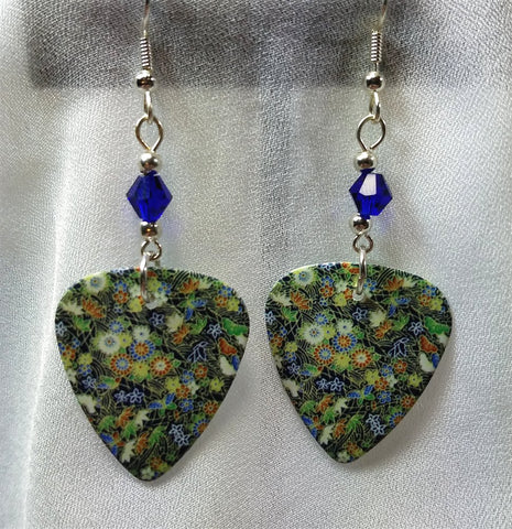 Flowered Guitar Pick Earrings with Cobalt Blue Swarovski Crystals