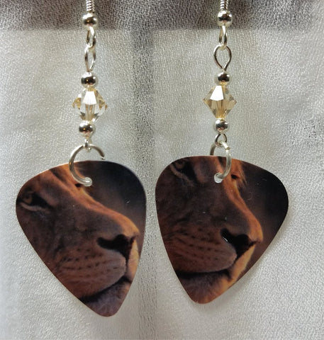 Lion Profile Guitar Pick Earrings with Swarovski Crystals