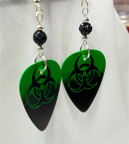 Toxic Guitar Pick Earrings with Black Pave Beads