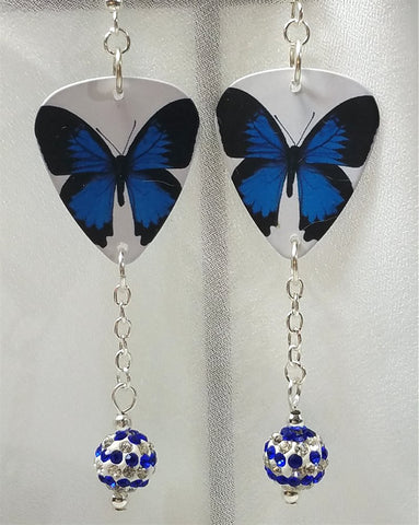 Blue Butterfly Guitar Pick Earrings with Blue and White Striped Pave Beads