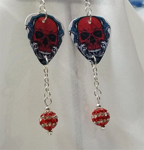 Red Skull Guitar Pick Earrings with Red Striped Pave Bead Dangles