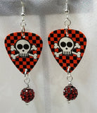 Black and Red Checkered Skull Guitar Pick Earrings with Red and Black Pave Bead Dangles