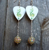 Green Treble Clef Guitar Pick Earrings with Studded Rhinestone Dangles