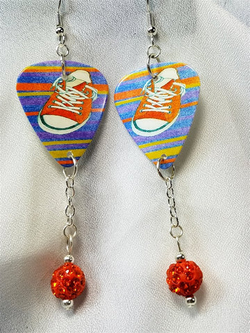 Orange Sneakers on a Striped Background Guitar Pick Earrings with Orange Pave Dangles