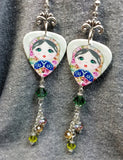 Russian Matryoshka Doll Guitar Pick Earrings with Dangles