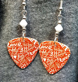 The Language of Love Guitar Pick Earrings with White Swarovski Crystals