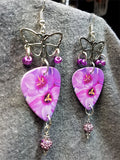 Butterfly and Flower Guitar Pick Earrings with Purple Pave Beads