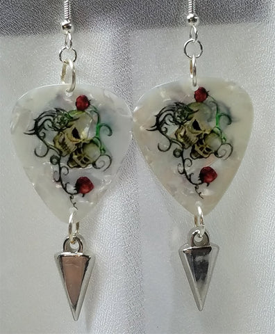 Skulls and Roses Guitar Picks with Spike Dangles