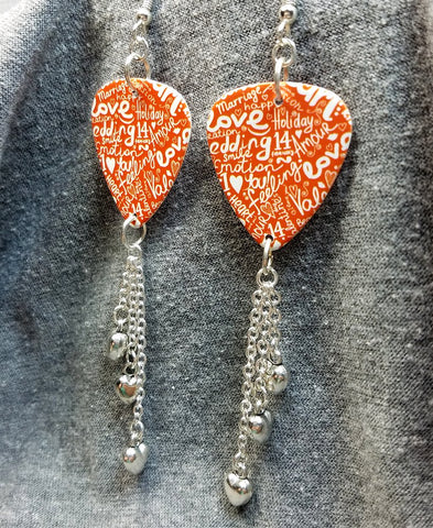 The Language of Love Guitar Pick Earrings with Silver Heart Dangles