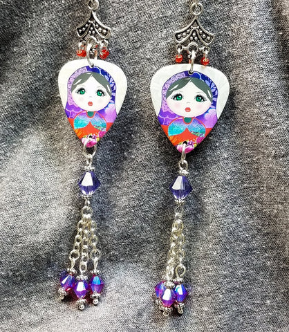 Russian Matryoshka Doll Guitar Pick Earrings with Swarovski Crystal Dangles