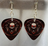 Skull on a Dark Red Background Guitar Pick Earrings