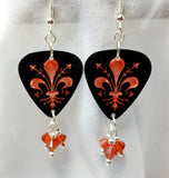 Fleur de Lis Guitar Pick Earrings with Indian Red Swarovsoki Crystal Dangles