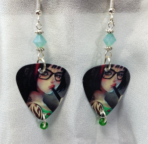Nerdy Tattooed Girl Guitar Pick Earrings with Swarovski Crystals