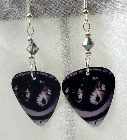 Gray Eyes Guitar Pick Earrings with Swarovski Crystals
