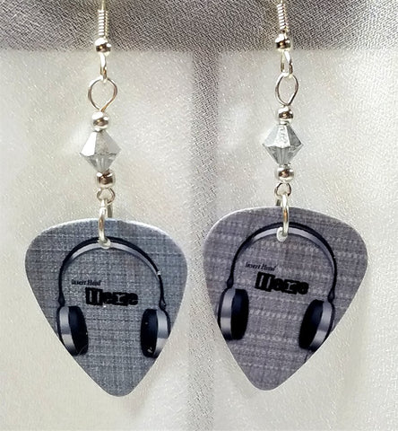 Headphone Guitar Pick Earrings with Silver Swarovski Crystals