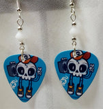 Skateboarding Skeleton with Baseball Cap and Bandaid Guitar Pick Earrings with White Swarovski Crystals