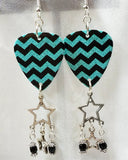 Teal and Black Chevron Guitar Pick Earrings with Black Beads and Star Dangles